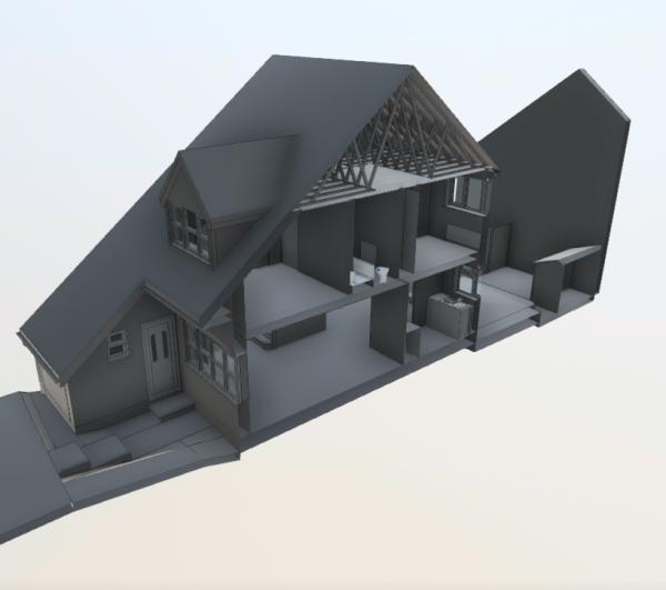 3D BIM Model Cut Interior